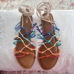 Rainbow Ankle Wrap Sandals Size 11